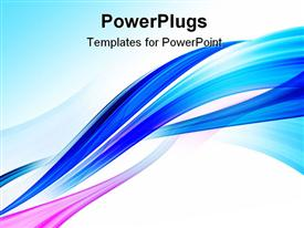PowerPoint template displaying abstract blue background with smooth lines and waves in the background.