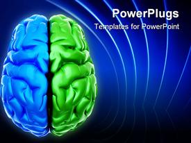 Conceptual blue end green brain over white - this is a powerpoint design layout