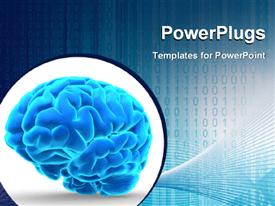 Conceptual blue brain over white powerpoint template