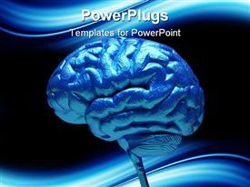 Conceptual blue brain over white presentation background