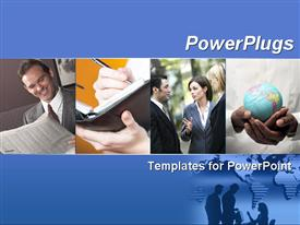 PowerPoint template displaying blue template with business collage. Illustrates finance, communication, interaction, and global bus in the background.