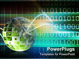 PowerPoint template displaying world glob with blue data research and development as art