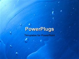 PowerPoint template displaying blue painted surface with water drops
