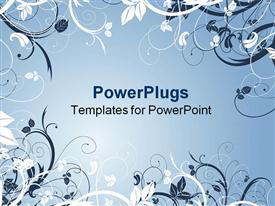 PowerPoint template displaying beautiful Abstract white and ash colored floral design on an ash colored background