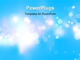 PowerPoint template displaying abstract blue background with light sparkles and glowing stars