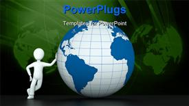 3D character with blue globe powerpoint design layout