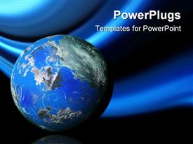 PowerPoint template displaying abstract 3D blue earth globe in the background.