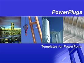 PowerPoint template displaying blue template with industry collage. Illustrates industrial business, factory, and chemical factory in the background.