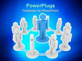 PowerPoint template displaying blue figure on pedestal surrounded by white figures in circled