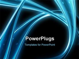 Abstract blue neon lines on dark background powerpoint template