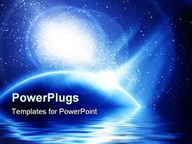 PowerPoint template displaying abstract blue shiny background with lots of stars