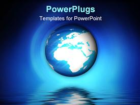 PowerPoint template displaying blue and white globe floats above rippling water