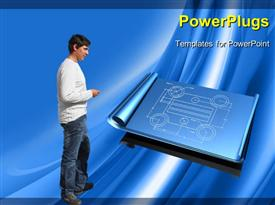 PowerPoint template displaying set of unrolled blueprints over top of a shiny blue silk texture