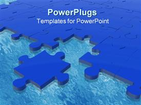 PowerPoint template displaying blue puzzle piece next to complete blue puzzle on blue surface