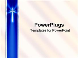 PowerPoint template displaying blue ribbon with cross and white background