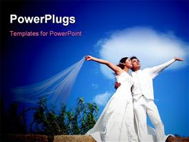 PowerPoint template displaying a couple on their wedding day starring into the sky