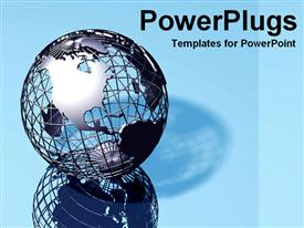 PowerPoint template displaying silver globe
