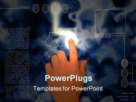 PowerPoint template displaying index finger pressing a futuristic solutions button