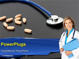 PowerPoint template displaying smiling female doctor with orange tablets and stethoscope on black background
