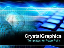 PowerPoint template displaying coding computers blue spheres of combinations and keys black background