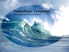 Huge blue wave crashing powerpoint theme