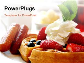 PowerPoint template displaying blueberry waffles with maple syrup, topped with whipped cream and mint leaf. served with fresh strawberries