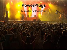 PowerPoint template displaying musical concert with colorful stage and crowd enjoying singers performance