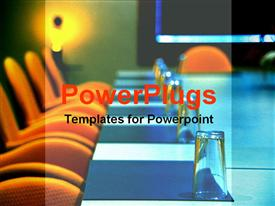 PowerPoint template displaying boardroom with glass cups and orange chairs in the background.