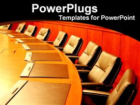 PowerPoint template displaying empty business boardroom in the background.