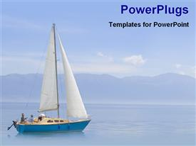 PowerPoint template displaying beautiful view of a boat, sea and hills in the background.