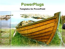 PowerPoint template displaying old wood boat on grass, water rock harbor background
