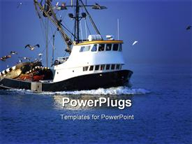 Fishing boat in the ocean powerpoint template