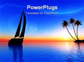 PowerPoint template displaying sunset view boat river palm trees
