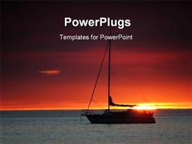 PowerPoint template displaying sail boat at sunset in the background.