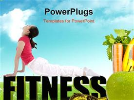 PowerPoint template displaying a girl exercising and vegetables with clouds in the background