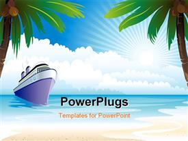 PowerPoint template displaying a ship on the beach with trees