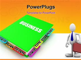 PowerPoint template displaying 3D business man with briefcase with business plan diary