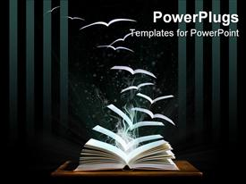 Magic book with pages transforming into birds powerpoint design layout