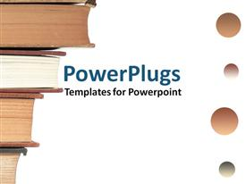 PowerPoint template displaying four books placed over each other