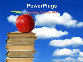 PowerPoint template displaying apple on books heap against cloudy blue sky