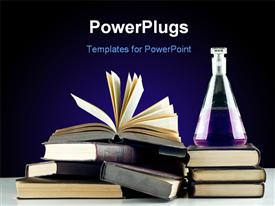 PowerPoint template displaying books. Education chemistry in the background.