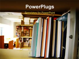 PowerPoint template displaying books on shelves in the background.