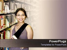 PowerPoint template displaying college student stands in library in the background.