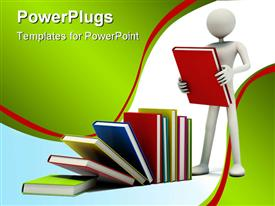 PowerPoint template displaying man with colored books in the background.