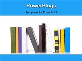 PowerPoint template displaying many books on the white shelf