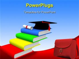 PowerPoint template displaying graduation cap on pile of colored books arranged in steps