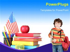 PowerPoint template displaying a small pupil with a stack of books, an apple and a flag