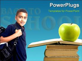 PowerPoint template displaying an African school kid with an apple on a stack of books