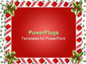PowerPoint template displaying depiction and depiction composition Christmas design with holly leaves and candy ribbons