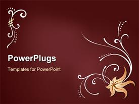 PowerPoint template displaying a plain red colored display tile with flower images